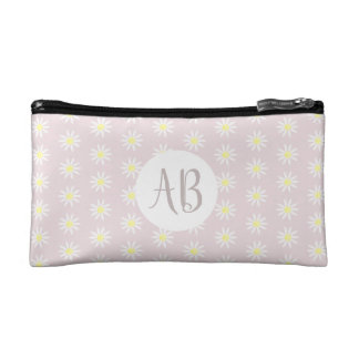 Girl's Pastel Pink Daisy Flower Pattern Monogram Makeup Bag
