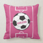 Girls personalised Soccer ball on pink field Throw Pillows