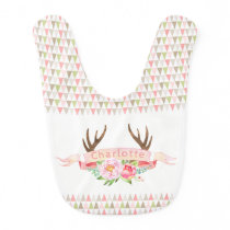 Girls Personalized Antler Baby Bib