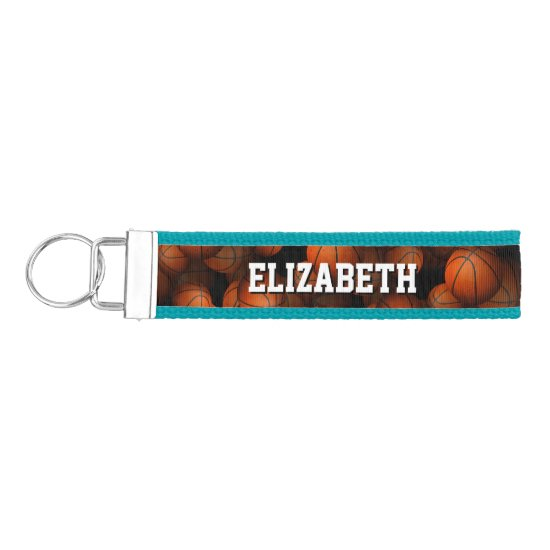 girl's personalized basketballs pattern wrist keychain