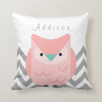 Girl's Personalized Chevron Gray and Pink Owl Throw Pillow