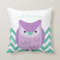 Girl's Personalized Chevron Teal and Purple Owl Throw Pillow