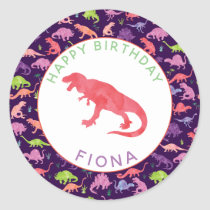 Girls Personalized Dinosaur Birthday Party Pattern Classic Round Sticker