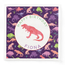 Girls Personalized Dinosaur Birthday Party Pattern Paper Dinner Napkins