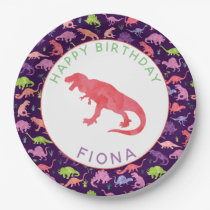 Girls Personalized Dinosaur Birthday Party Pattern Paper Plate