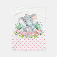 Girls Personalized Elephant Baby Blanket