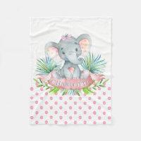 Girls Personalized Elephant Baby Blanket