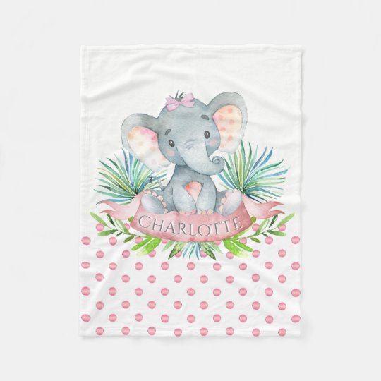 Girls Personalized Elephant Baby Blanket | Zazzle.com