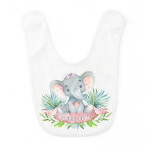 Girls Personalized Elephant Bib