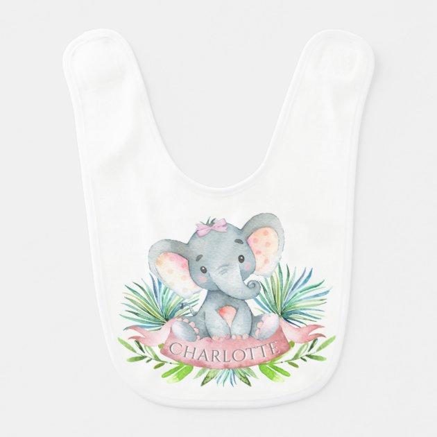 baby girl elephant bib with name or both burpcloth Personalized elephant bib baby girl newborn gift pink and gray burp cloth with name