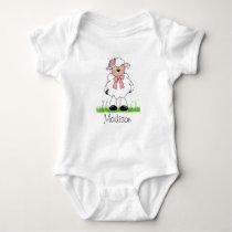 Girls Personalized Lamb Baby Bodysuit