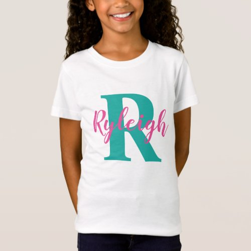 Girls Personalized Name with Initial Monogram T_Shirt
