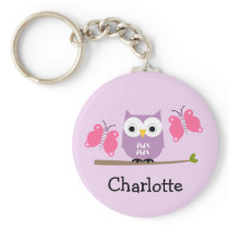 Girls Personalized Owl And Butterflies Key Ring