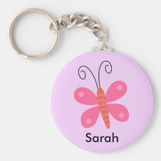 Girls Personalized Pink Butterfly key Chain Basic Round Button Key Ring