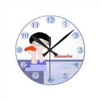Girls Personalized Swim Wall Clock