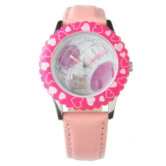 Girl's Pet Hamster in Clear Ball Pink Heart Watch