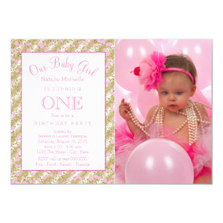 Girls Photo 1st Birthday Party Pink Gold Confetti Card