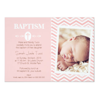 Girls Photo Chevron Baptism Invitation