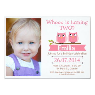 Girls Photo Owl 2nd Birthday Invitation