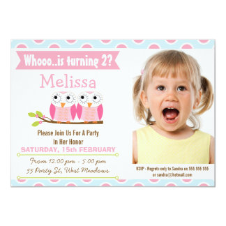 Girls Photo Pink Owls 2nd Birthday Invitation