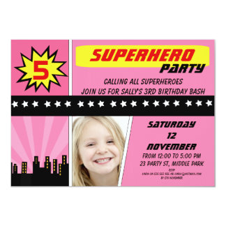 Girls Photo Superhero Birthday Invitation