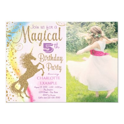 Unicorn Rainbow Girls Birthday Party Invitations – Unicorn Birthday Party Invitations