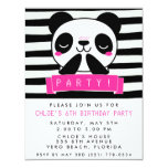 Girl's Pink and Black Cute Panda Birthday Party 4.25x5.5 Paper Invitation Card