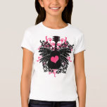 Girls Pink and Black Guitar with Angel Wings T-Shirt