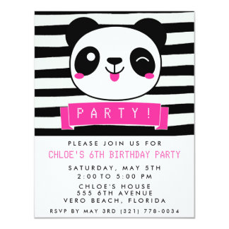 Girl's Pink and Black Happy Panda Birthday Party Card