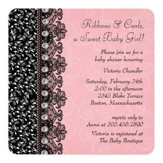 Girls Pink and Black Lace Baby Shower 5.25x5.25 Square Paper Invitation Card