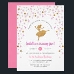 """Girl's Pink and Gold Ballerina Pirouette Birthday Invitation<br><div class=""""desc"""">Center stage - here is your glittering ballerina, a point, mid-pirouette. Surrounding her are showers of confetti: cute pastel pink stars, purple streamers and ribbons, gold glitter baubles and delicate little stars for the starlet. The text reads, 'please join us for tutus and twirls'. This fun invitation reverses to a...</div>"""