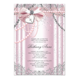 Girls Pink and Gray Pearl First Communion 5x7 Paper Invitation Card