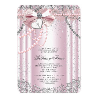 Girls Pink and Gray Pearl First Communion 4.5x6.25 Paper Invitation Card