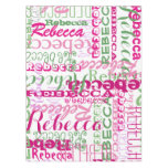 Girls Pink and Green Name Collage Allover Print Tablecloth