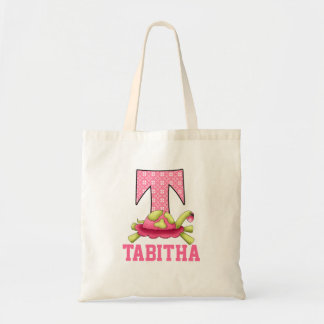 Girl's Pink and Green Turtle for Monogram T Tote Bag