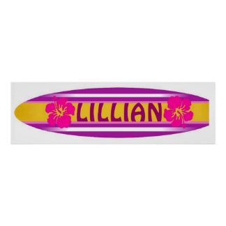 Girls pink and purple surfboard poster