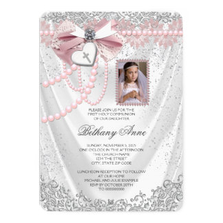 Girls Pink and White Satin Photo First Communion Card
