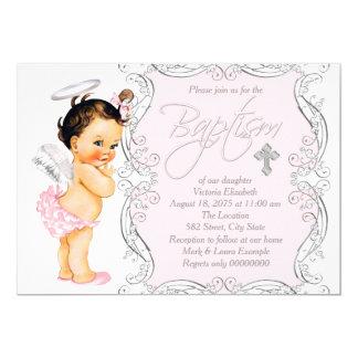 Girls Pink Angel Baptism Card