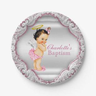 Girls Baptism Plates   Zazzle