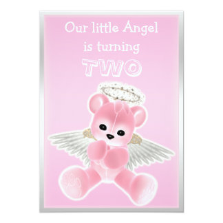 "Girl's Pink Angel Teddy Bear 2nd Birthday Party 5"" X 7"" Invitation Card"