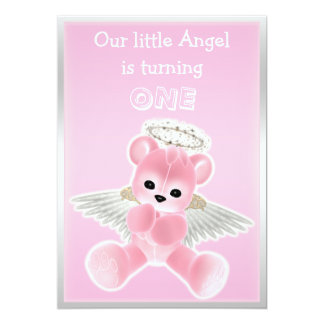 "Girl's Pink Angel Teddy Bear First Birthday Party 5"" X 7"" Invitation Card"