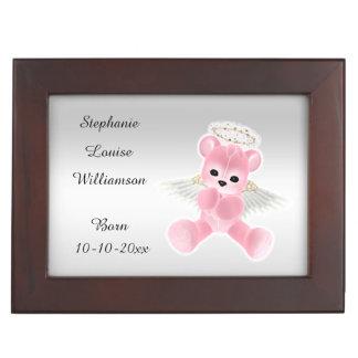 Girl's Pink Angel Teddy Bear Memory Box