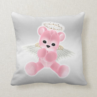 Girl's Pink Angel Teddy Bear Throw Pillow