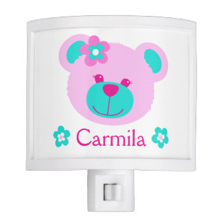 Girls pink aqua teddy bear face name night light