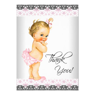 Girls Pink Baby Shower Thank You Card
