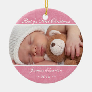 Girls Pink Baby's First Christmas Ornament