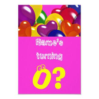 "Girls pink balloons ""any age"" custom 3.5"" x 5"" invitation card"
