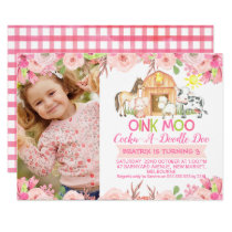Girls Pink Barnyard Photo birthday invitation