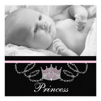 Girls Pink Black Princess Birth Announcements