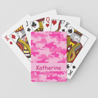 Girls Pink Camo Camouflage Name Personalized Deck Of Cards